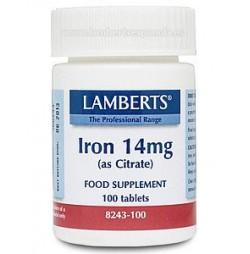 HIERRO 14 mg 100 TABLETAS LAMBERTS