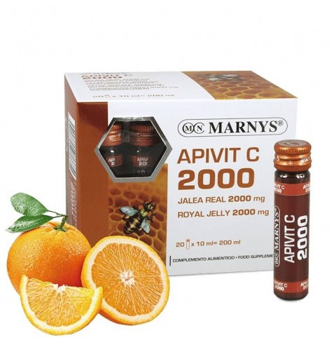 Apivit C 2000 Jalea Real y Vit C 20 viales Marnys